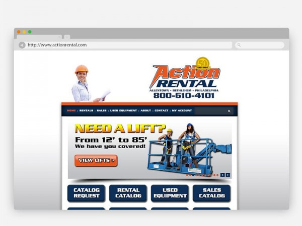 Action Rental Website Design