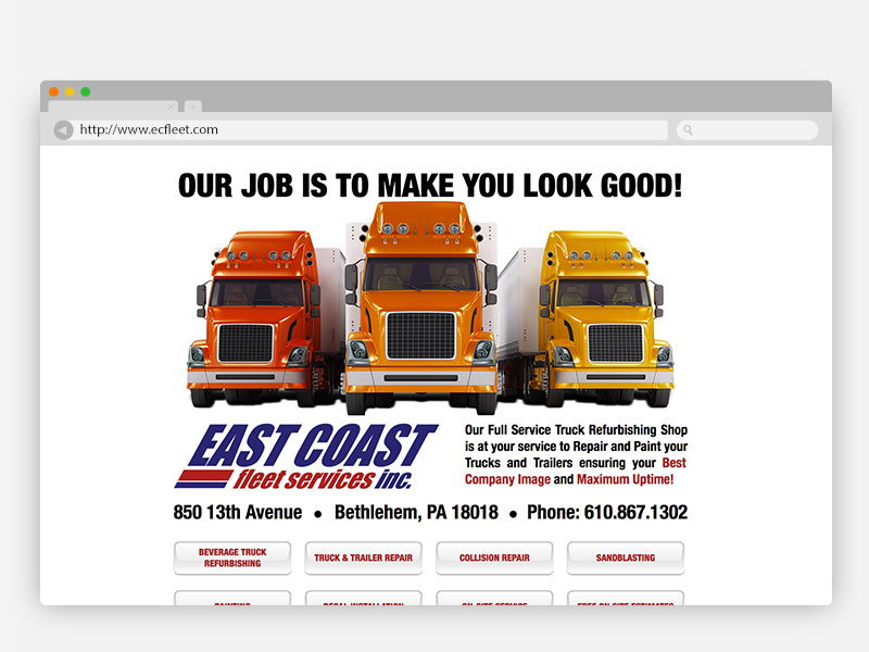 East Coast Fleet Services Website Design